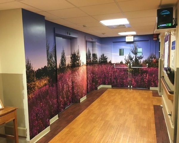Large format dhesive vinyl graphics. -Bethany Health Care - Elevator Graphics