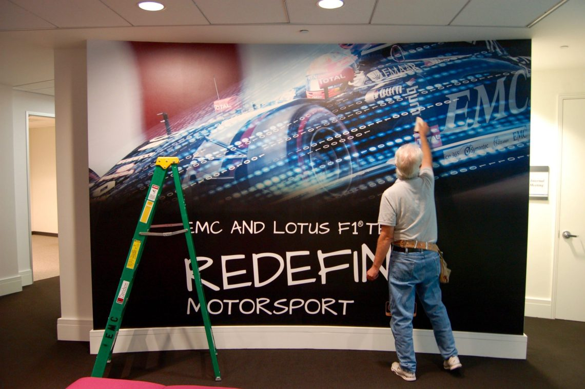 Wall Mural being applied in Corporate Interior