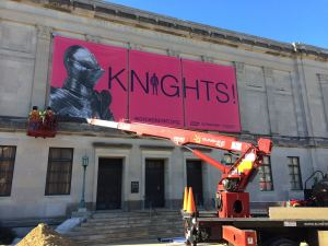 """Worcester Art Museum advertising with this printed banner by ICL Imaging. It's new collection is called""""Knights"""" ."""