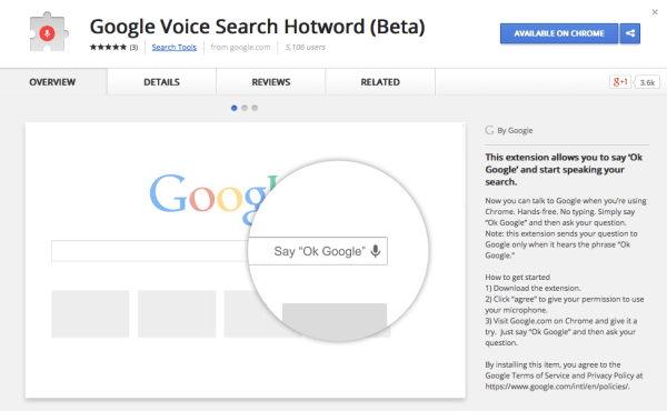 Official 'Ok Google' Extension for Chrome Enables Hands ...