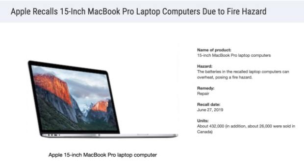 Apple MacBook Recall Affects Over 450,000 Units
