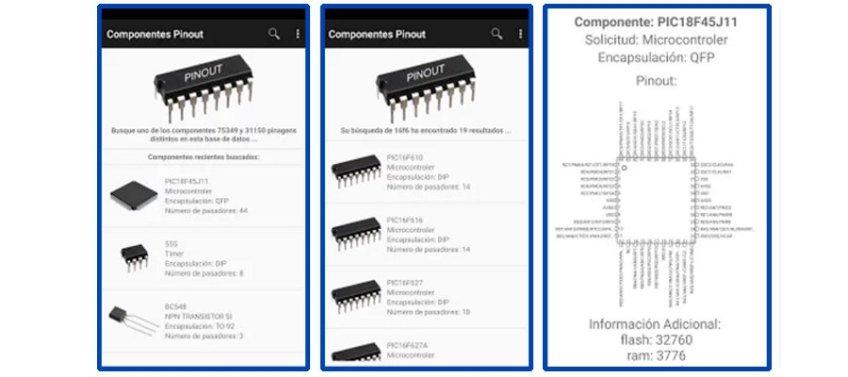 aplicación de pines de componentes electrónicos, para móvil