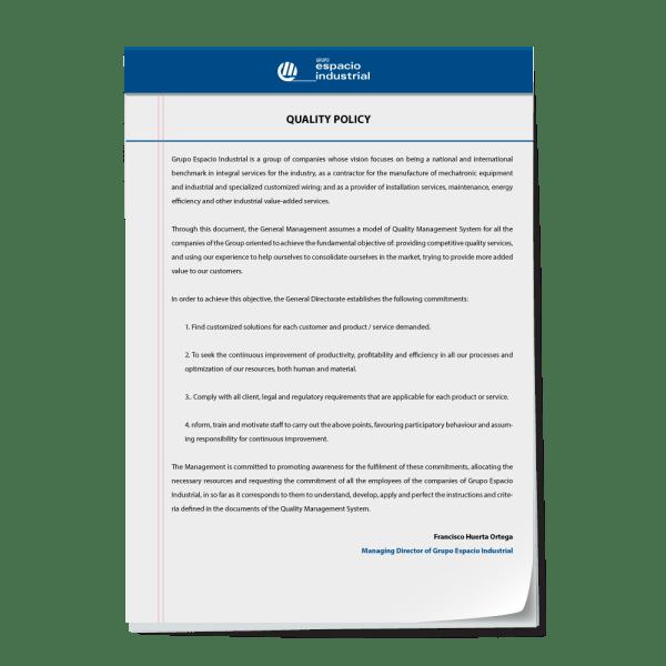Política de calidad de Grupo Espacio Industrial