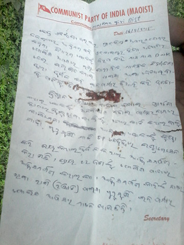 Maoists killed Jeejo, a missionary in India, and left this note forbidding future evangelism in the area.