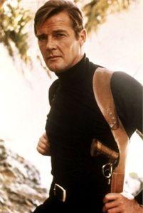 Roger Moore James Bond Black Turtleneck