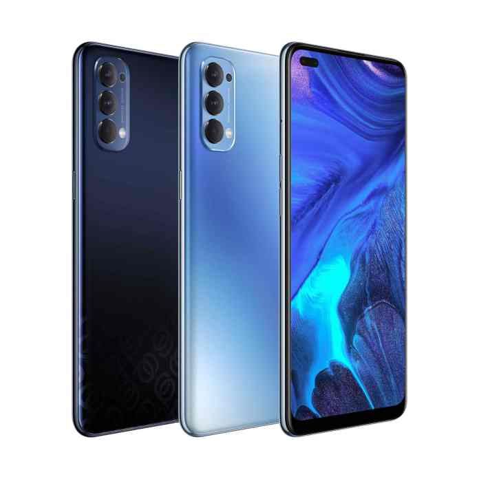 The new OPPO Reno 4 in Space Black and Galactic Blue