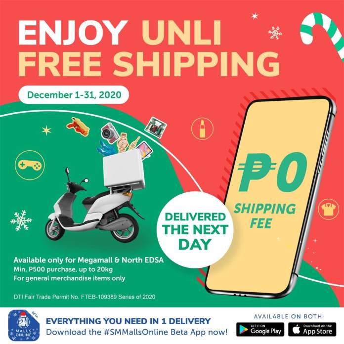 Shop via SM Malls Online mobile app and get free shipping