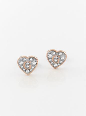 GUESS Pave G Heart Crystals Stud Earrings