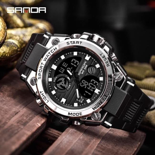 Sanda 2019 Men's Watches Black Sports Watch LED Digital 3ATM Waterproof Military Watch