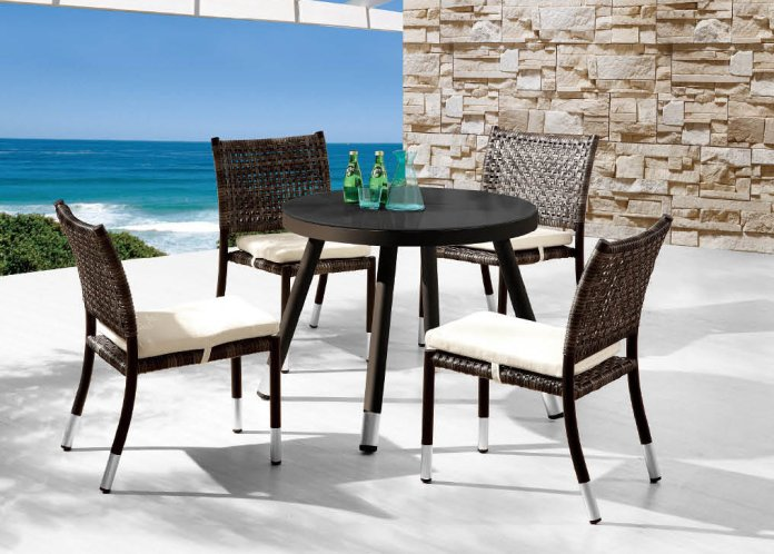 Fatsia Modern Outdoor Round Dining Set For Four With Armless Chairs Icon Outdoor Contract