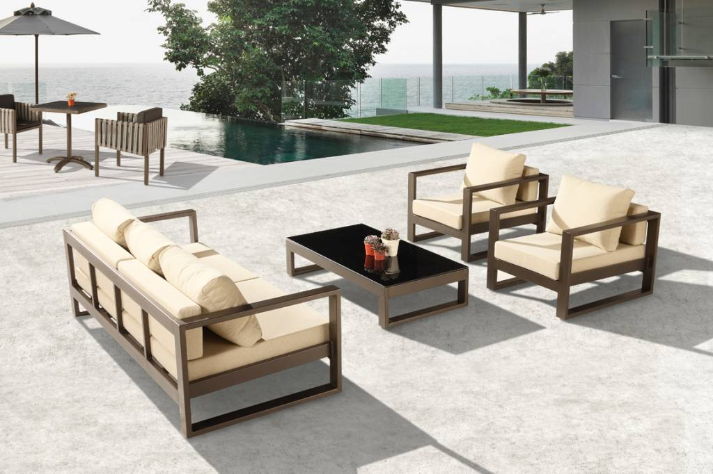Amber Modern Outdoor Sofa Set with 2 Club Chairs - Icon ... on Outdoor Loveseat Sets  id=50657
