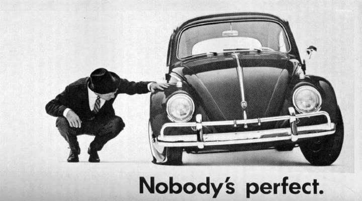 """Publicidad de la época: """"Nadie es perfecto"""". Los alemanes sí tienen sentido del humor..."""