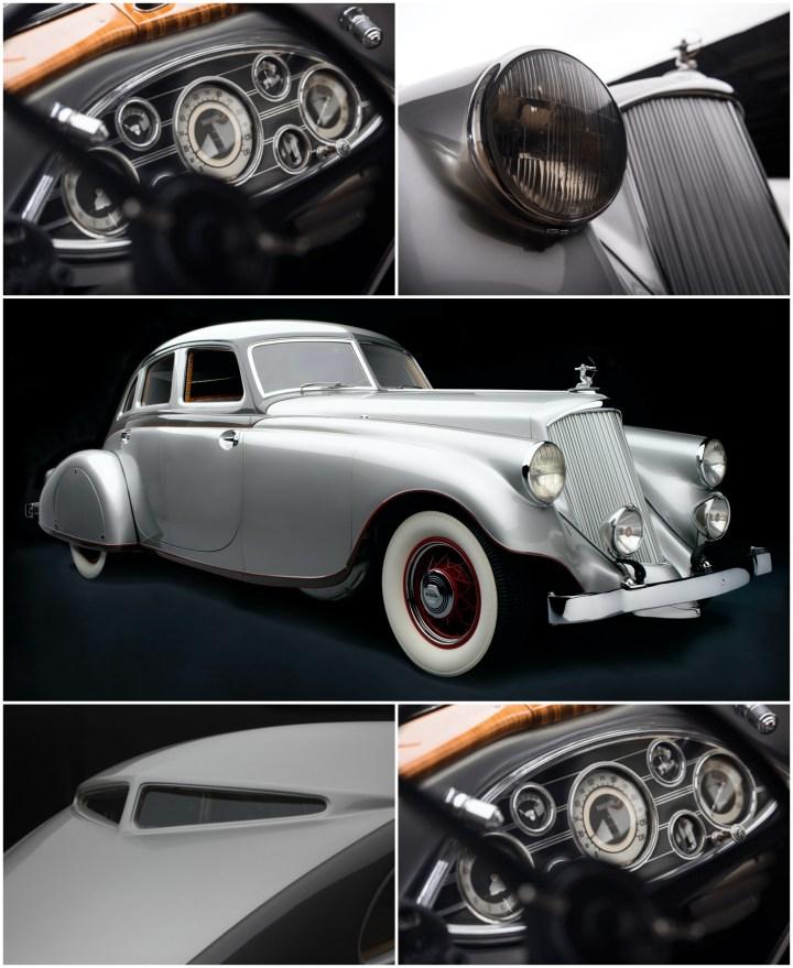 El llamativo Pierce-Arrow Silver Arrow de 1933 tenía muchos elementos aerodinámicos y modernos como los faros parcialmente integrados