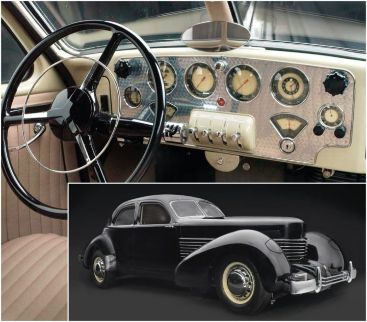 El Cord 810 de 1936 no destacó sólo por su modernísimo exterior, sino también por el panel de instrumentos, que recordaba al de un avión