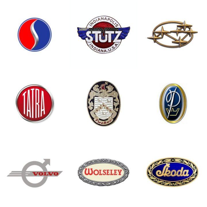 Logos: Studebaker (EEUU, 1911-61) - Stutz (EEUU, 1911-39) - Subaru (Japón, 1953) - Tatra (Chequia, 1924) - Tucker (EEUU, 1947-48) - Vanden Plas (GB, 1913-67) - Volvo (Suecia, 1927) - Wolseley (GB, 1901)