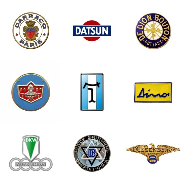 Logos: Darracq (Francia, 1897-35) - Datsun (Japón, 1933) - De Dion-Bouton (Francia, 1883-32) - De Soto (EEUU, 1928-60) - De Tomaso (Italia, 1959-2012) - Dino (Italia, 1957-80) - DKW (Alemania, 1916-66) - Dodge (EEUU, 1914) - Duesenberg (EEUU, 1913-37)