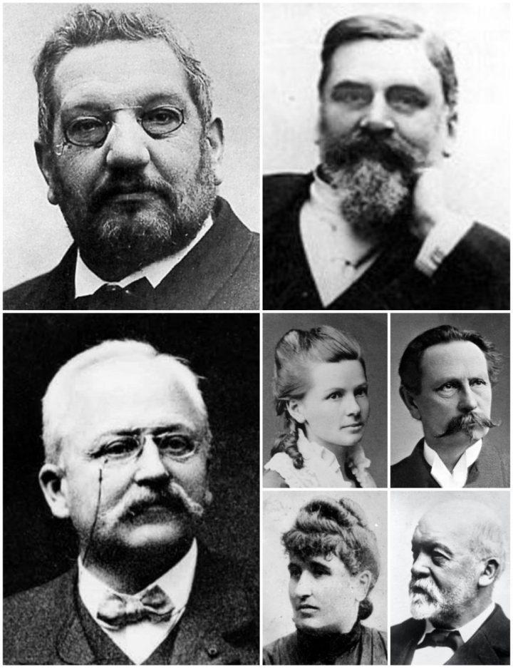 René Panhard, Émile Levassor, Armand Peugeot, Bertha Benz, Carl Benz, Louise Sarazin y Gottlieb Daimler