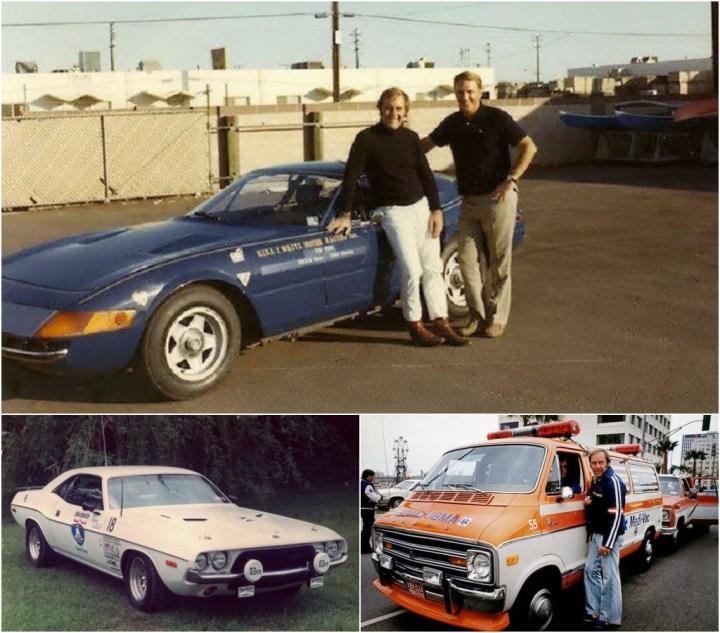 Yates y Dan Gurney con el Ferrari Daytona, Dodge Challenger, Ambulancia