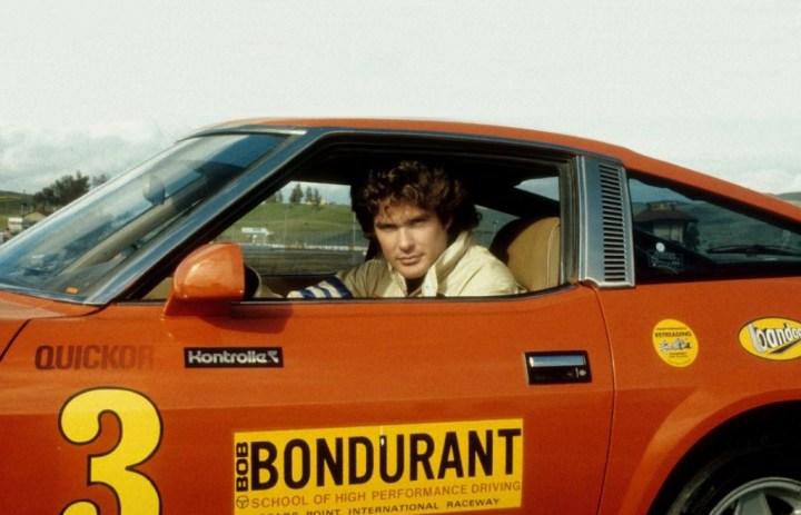 David Hasselhoff al volante de un Datsun 280Z en la escuela de pilotos de Bob Bondurant en Sears Point, California, hacia 1981 | Michael Ochs Archives:Getty Images