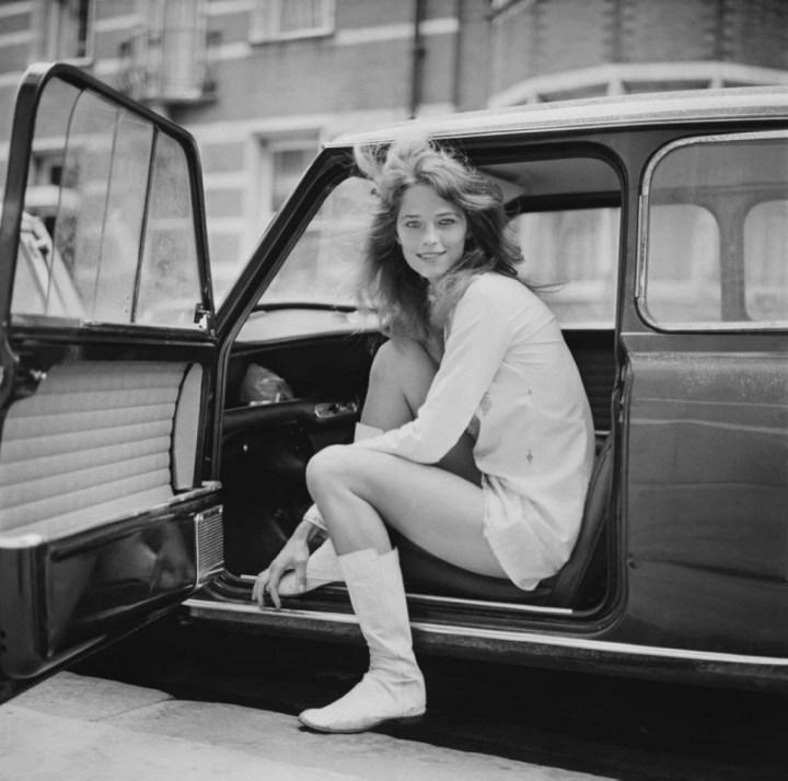Charlotte Rampling in a Mini, London, 1968 | Daily Mirror