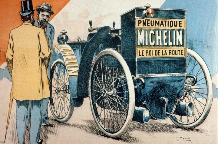 """Ilustración de """"El Rayo"""" de los hermanos Michelin en la Paris-Burdeos-Paris de 1895"""