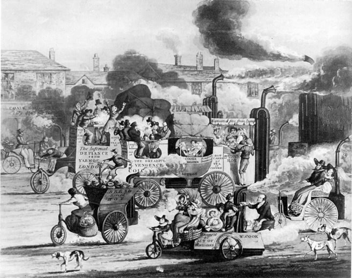 Caricatura de H. T. Alken de 1831 ironizando sobre los vehículos independientes a vapor