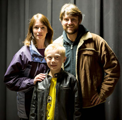 "Christina Rohling as ""Wendy,"" Marc Erickson as ""Jack"" and Christopher Levering as ""Danny"" in Stephen King's ""The Shining,"" A Play."