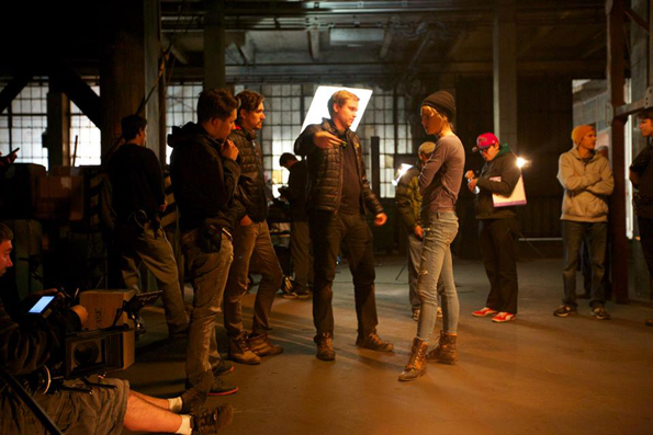 Zeke and Simon Hawkins on the set with their cast.