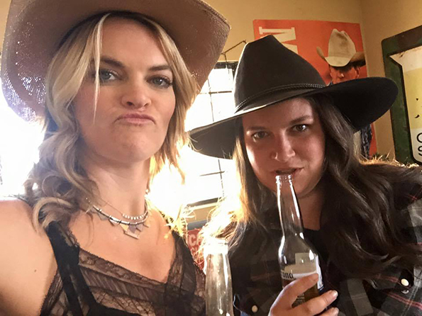 "Missi Pyle and Jenna Lee on the set of the ""I Wanna F*%$ You Up"" video."