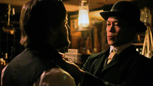 "Byron Mann in a pivotal scene from AMC's ""Hell On Wheels."""