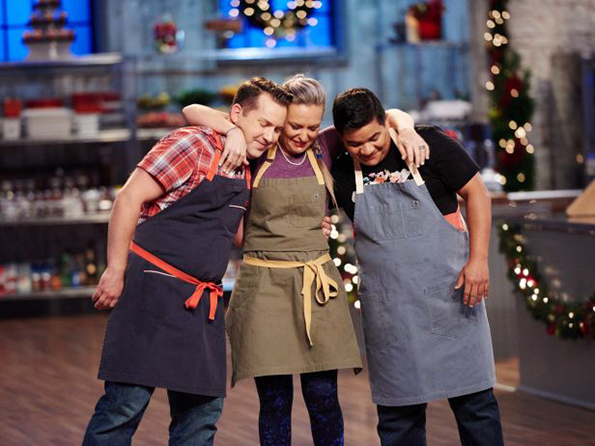 Steve and his fellow chefs at the Holiday Baking Championship Finale.