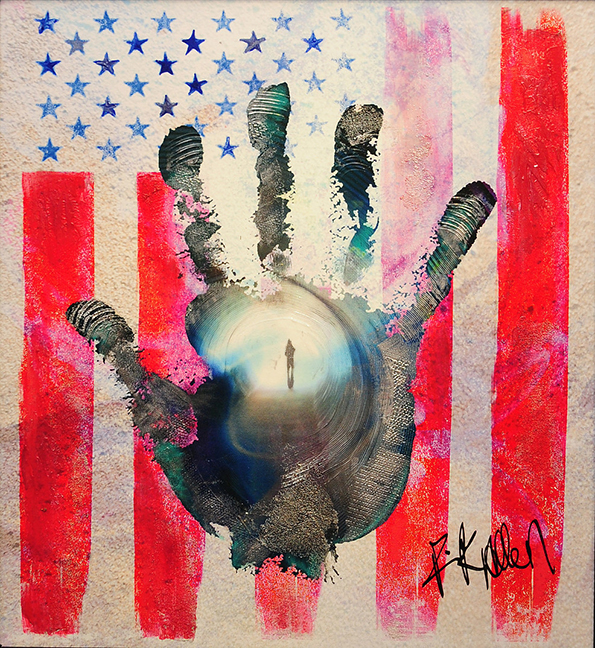 "One of the many striking pieces from Rick Allen's ""Hand - American Flag Series"""