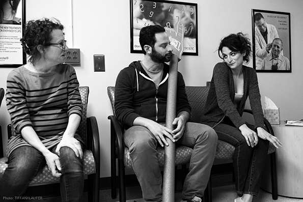 "Sophie Goodhart, Nick Kroll and Jenny Slate on the set of ""My Blind Brother."""