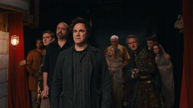 "Roger Bart as ""Henry"" (center) and the 'Macbeth' troupe in Ghost Light."