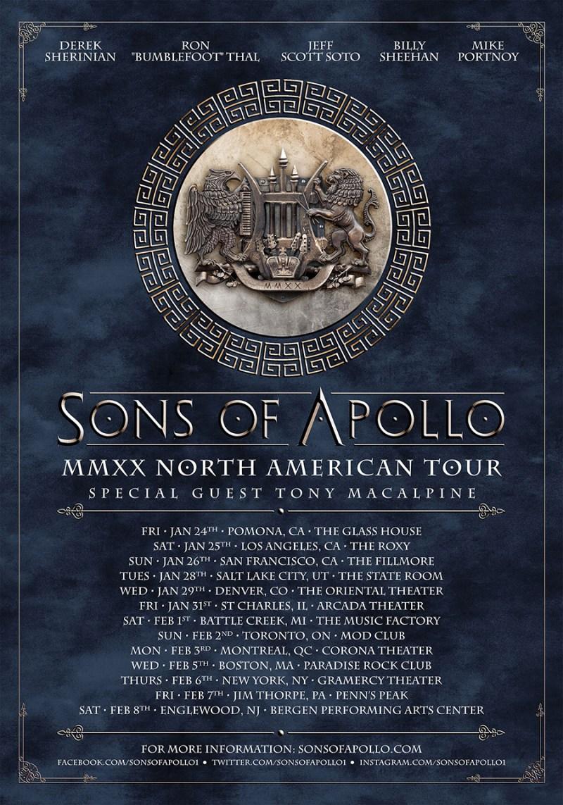 Sons of Apollo 2020 tour dates