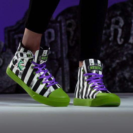 Unisex Beetlejuice Striped High Top Sneakers