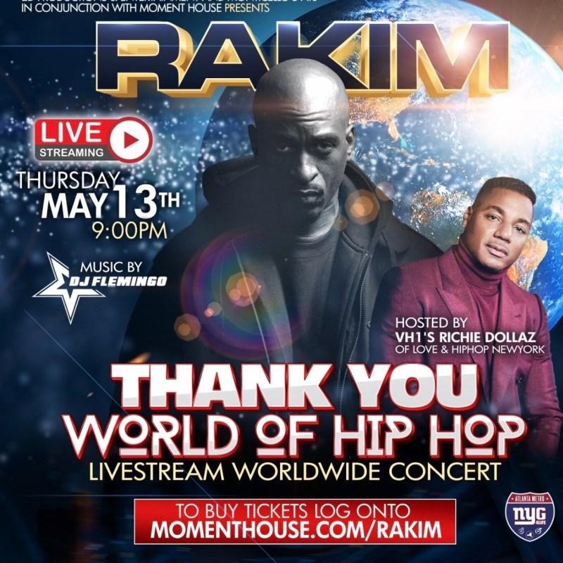 Rakim Announces Thank You World Of Hip Hop: A Special Livestream Concert