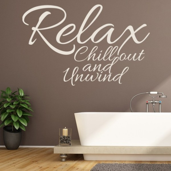 Relax, Chill Out Wall Sticker Bathroom Quote Wall Decal ...