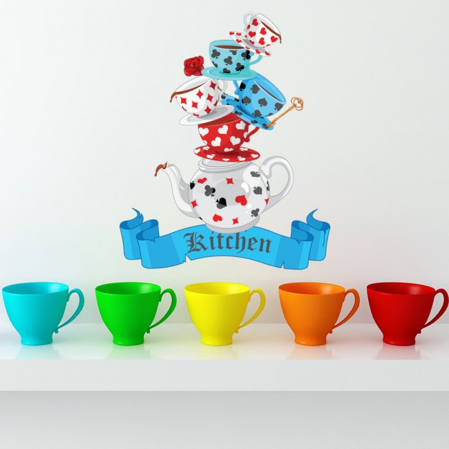 Mad Hatters Tea Party Wall Sticker Tea Cups Wall Decal