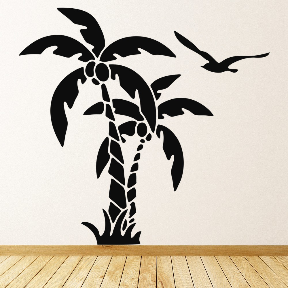 Palm Tree Wall Sticker Tropical Birds Wall Decal Bathroom Kitchen Home Decor