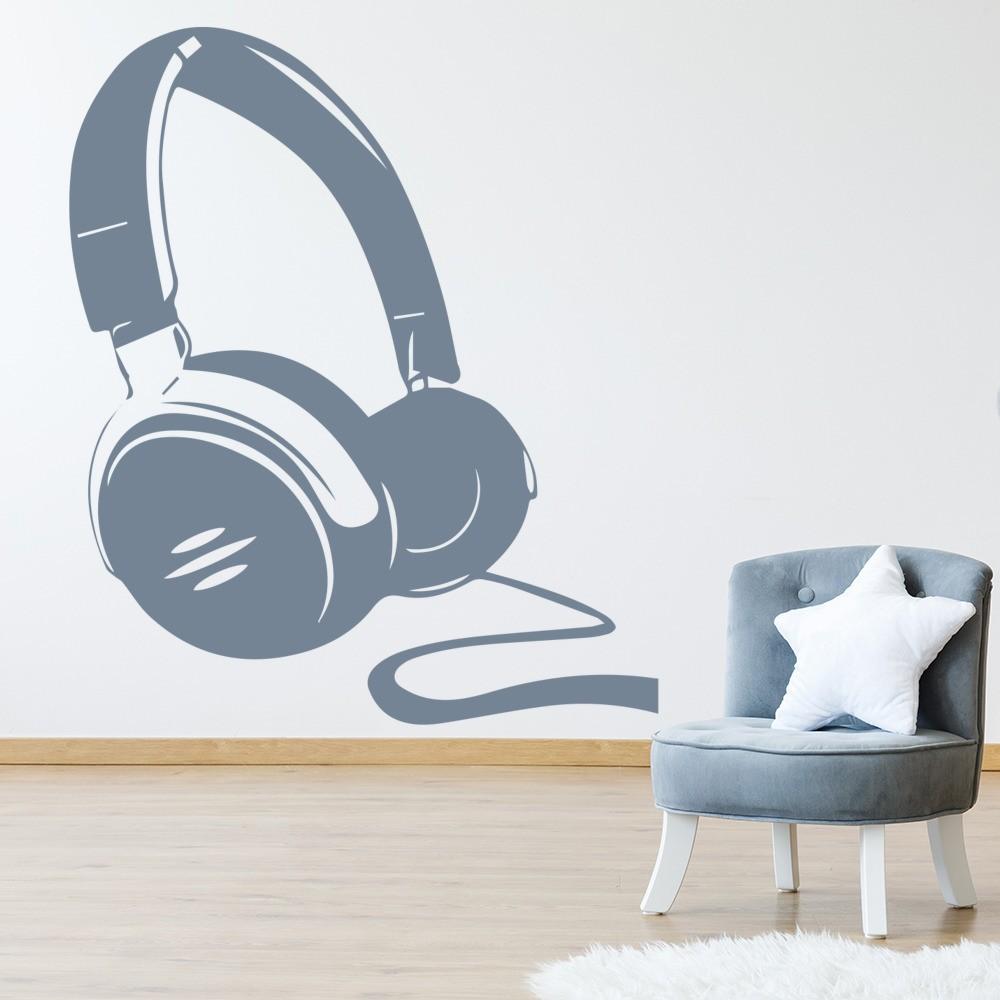 Headphones Silhouette Wall Sticker Music Wall Art