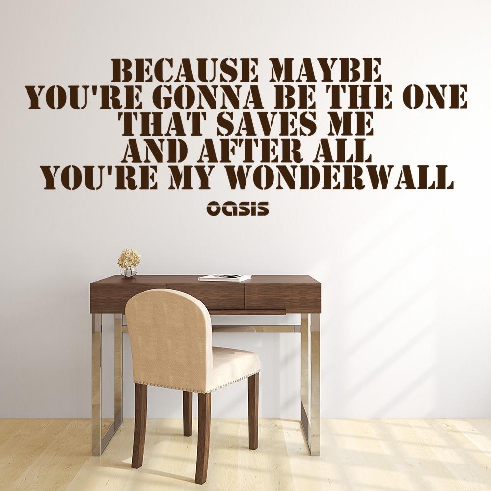 Wonderwall Wall Sticker Oasis Music Wall Decal Song Lyrics Home Decor