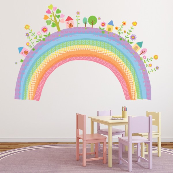City Rainbow Wall Sticker Childrens Wall Decal Nursery ...