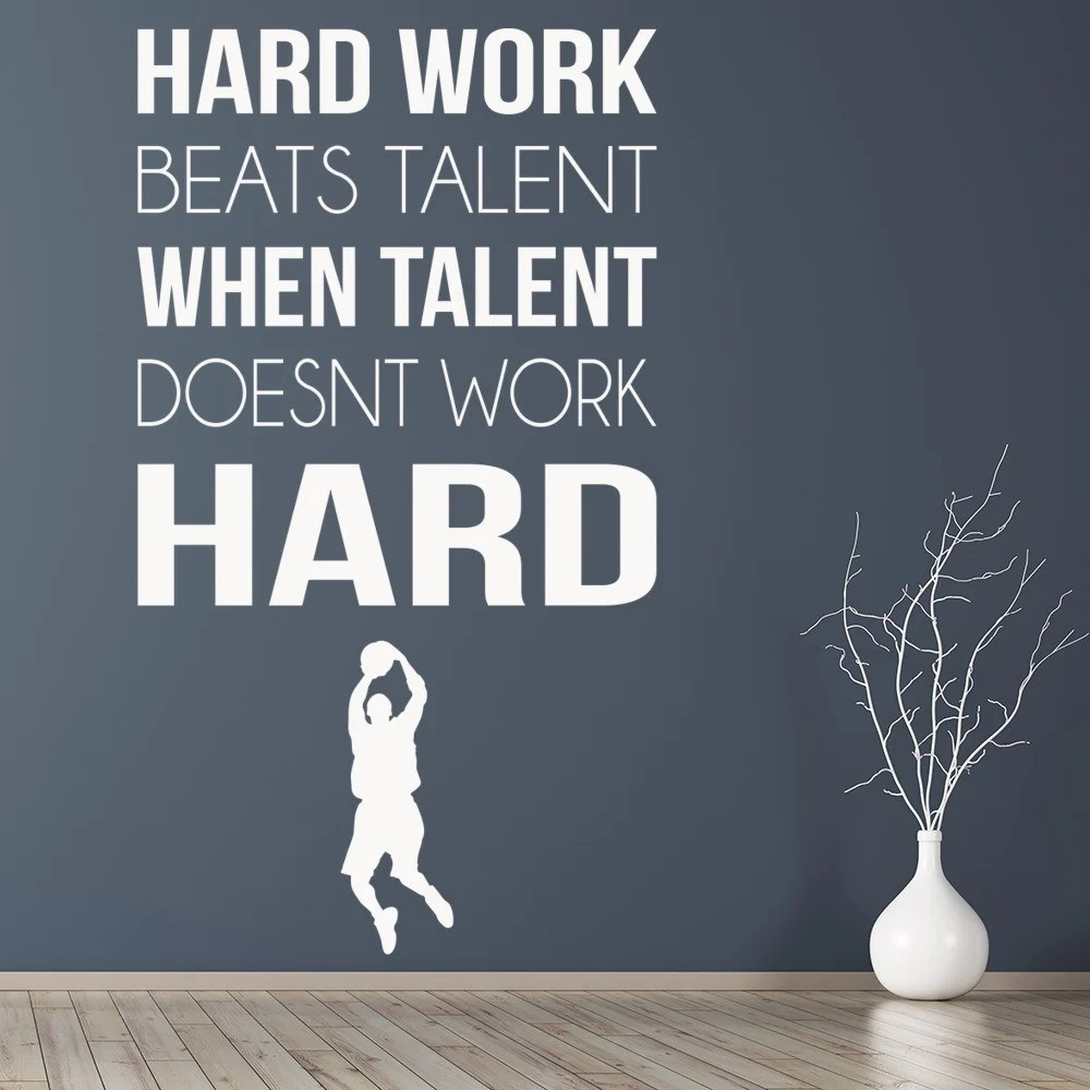 Hard Work Wall Sticker Sports Quote Wall Decal