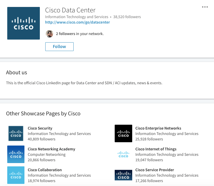 Cisco showcase pages linkedin