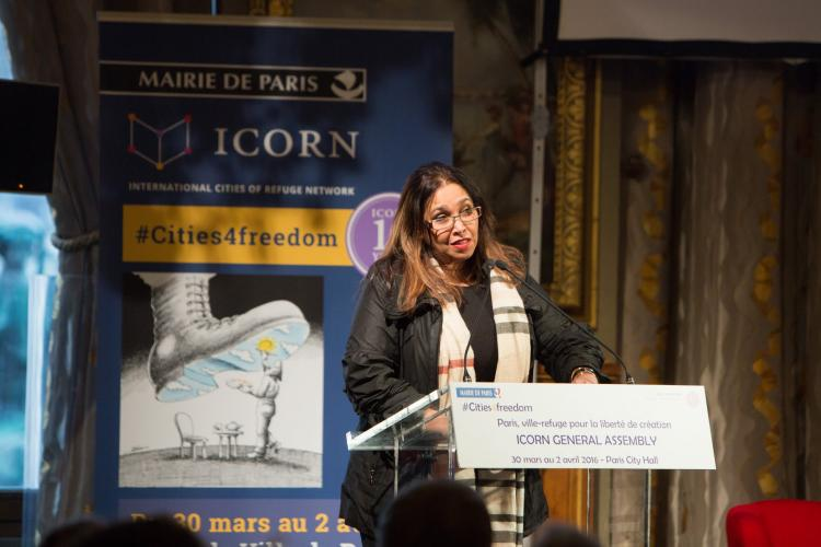 Sonali Samarasinghe speaking at the opening of the ICORN General Assembly in Hôtel de Ville in Paris 30 March 2016. © H.Garat JB. Gurliat. Photo.