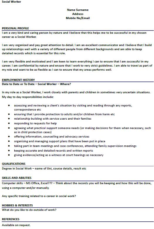 Social Worker CV Example Uk