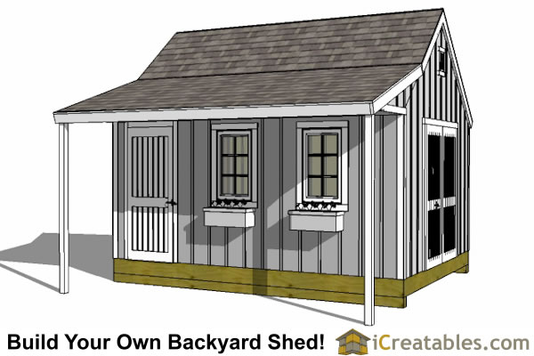 12x16 Cape Cod Shed With Porch Plans Icreatables