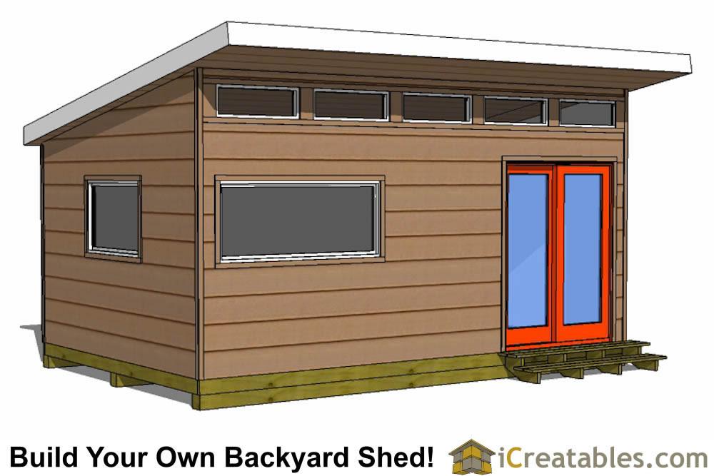 12x18 Modern Shed Plans Side Door