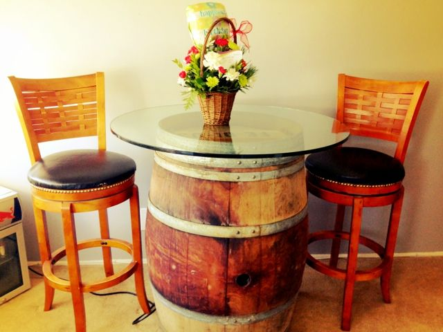 DIY Wine Barrel Table